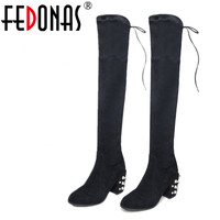 FEDONAS Suede Genuine Leather Shoes Woman Boots Winter Warm Sexy Stretch Over The Knee High Boots