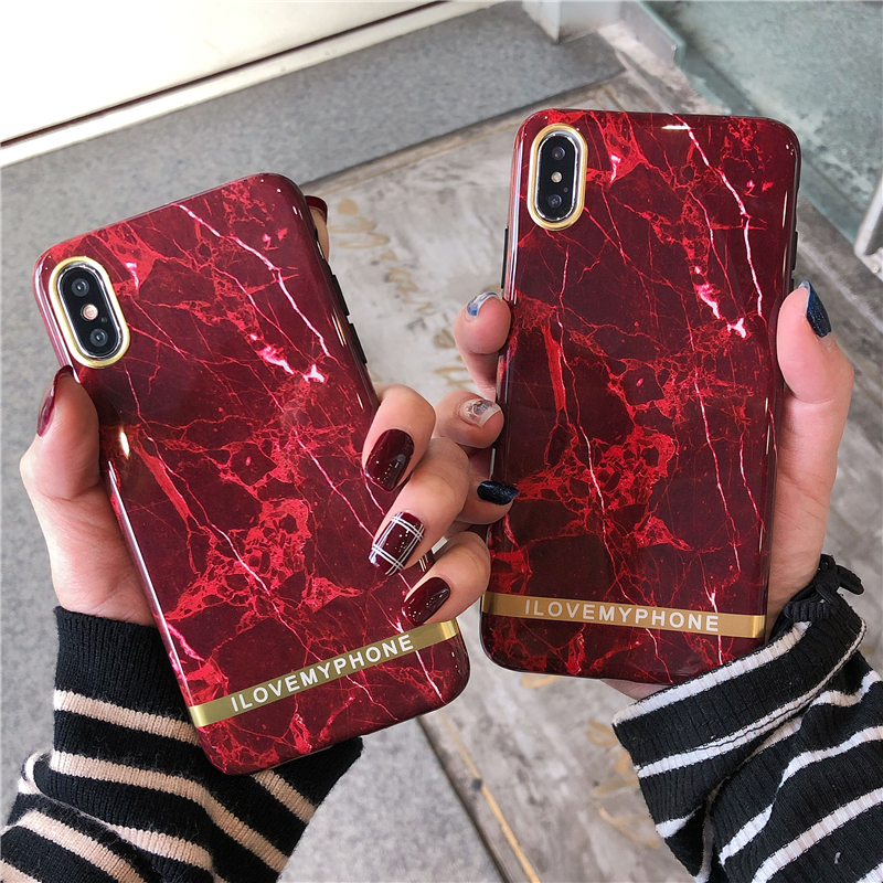 Retro Marble Phone Case For iphone XS Max Case For iphone 11 11Pro X XR 6 S 7 8 Plus Wine red Back Cover Glossy Soft Cases image