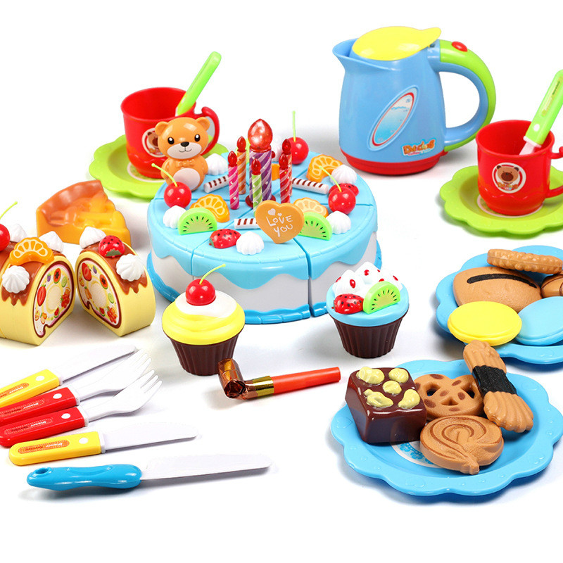 Simulation Kitchen Birthday Cake Cut To See Toys Children Play House Fruit Cut Music Diy Creative Gift 80Pcs in Kitchen Toys from Toys Hobbies