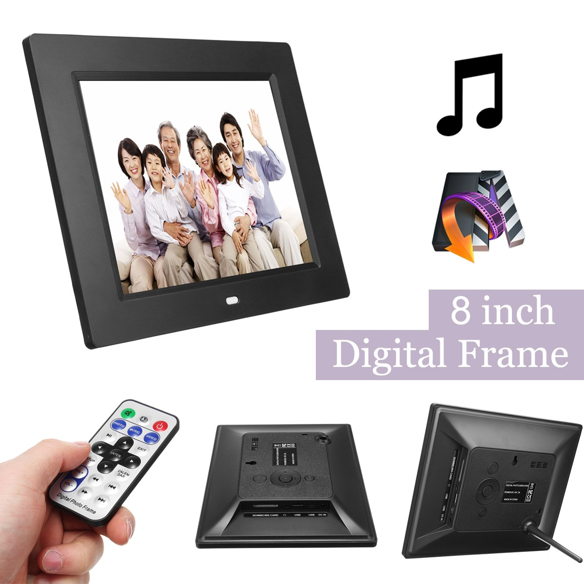 8inches Digital Photo Frame With Remote Control 8\'\'HD TFT LCD ...