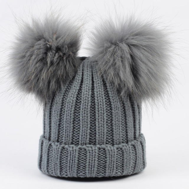 Geebro Winter Baby Knit Beanie Hat Real Fur Pompon Toddler Kid Warm Real Double Raccoon Fur Pompom Beanies for Boys and Girls