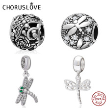 Choruslove Dragonfly Dangle Charm 925 Sterling Silver Garden Insect Beads fit Pandora Charms Spring Series DIY Bracelet Jewelry
