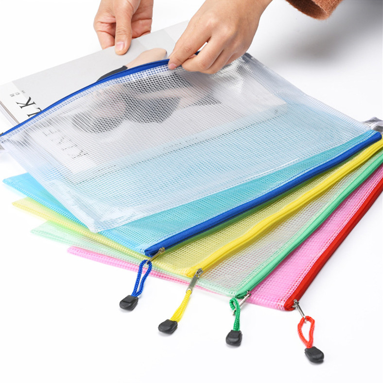 Transparent Plastic A4 Grid File Folder Business Document Organizer Zipper Bag Office School Pencil Storage Bags Stationery