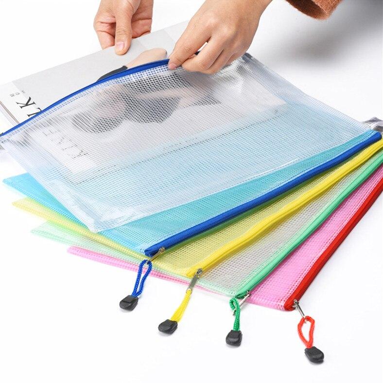 Transparent Plastic A4 Grid File Folder Business Document Organizer Zipper Bag Office School Pencil Storage Bags Stationery
