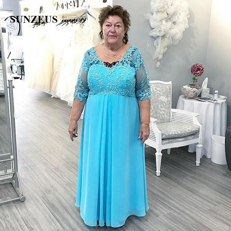 Plus Size Mother Of The Bride Dresses With Half Sleeves V-neck Appliques Groom Mother Gowns Summer Long Chiffon Party Dress