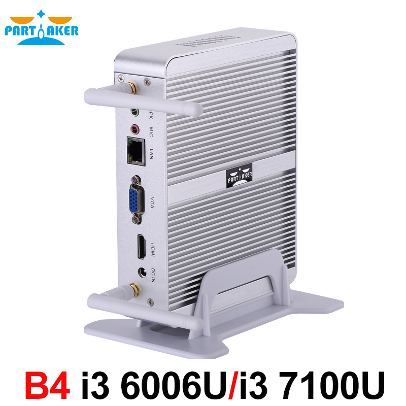 Partecipe Fanless Nuc Core i3 6006U i3 7100U DDR3L di Memoria Mini PC Linux Finestre 10 Grafica HD 620/520 4 k HTPC HDMI VGA Del Computer