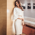 Autumn winter women dress 2 pieces vestidos white sexy Slim Flare Sleeve short top package hip High waisted bandage Suit dress