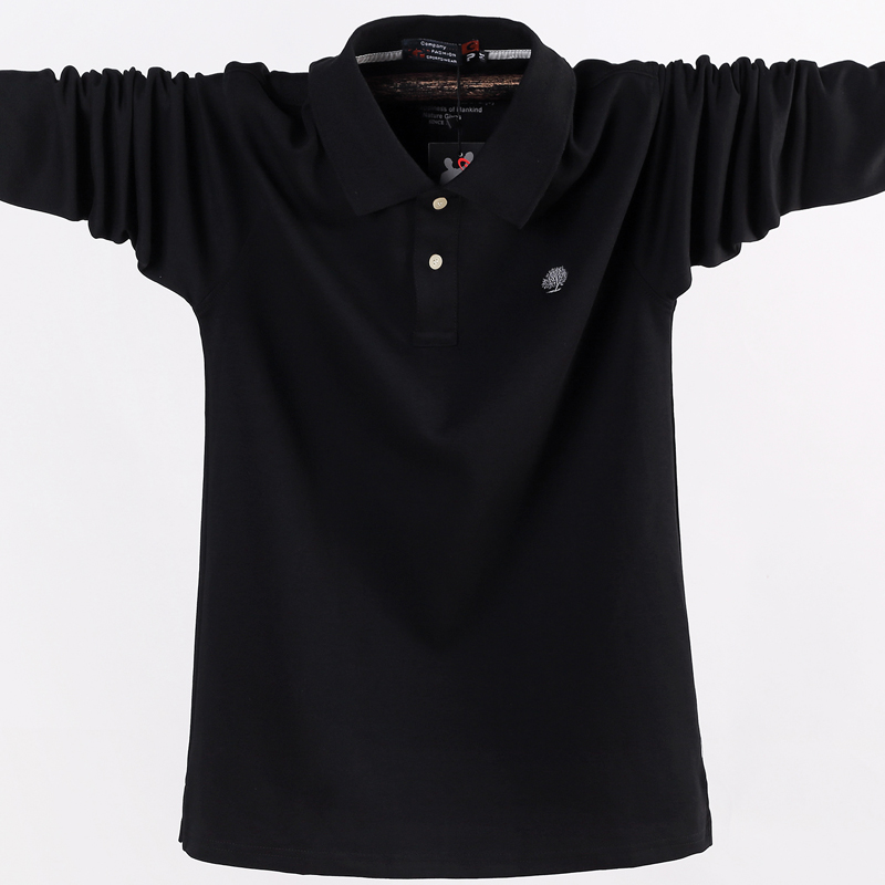 Image 5 - 2019 Men Polo Shirt Men's Business Work Casual Cotton Male Top Tees Autumn Long Sleeve Turn down Collar Polo Shirt Plus Size 5XL-in Polo from Men's Clothing
