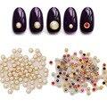 Ferramentas unhas 100 Pcs DIY Rhinestone 3D Decorações Nail Art 4mm Borda de Metal Half Round Pérolas Beads Pedrinhas Glitters para o Prego