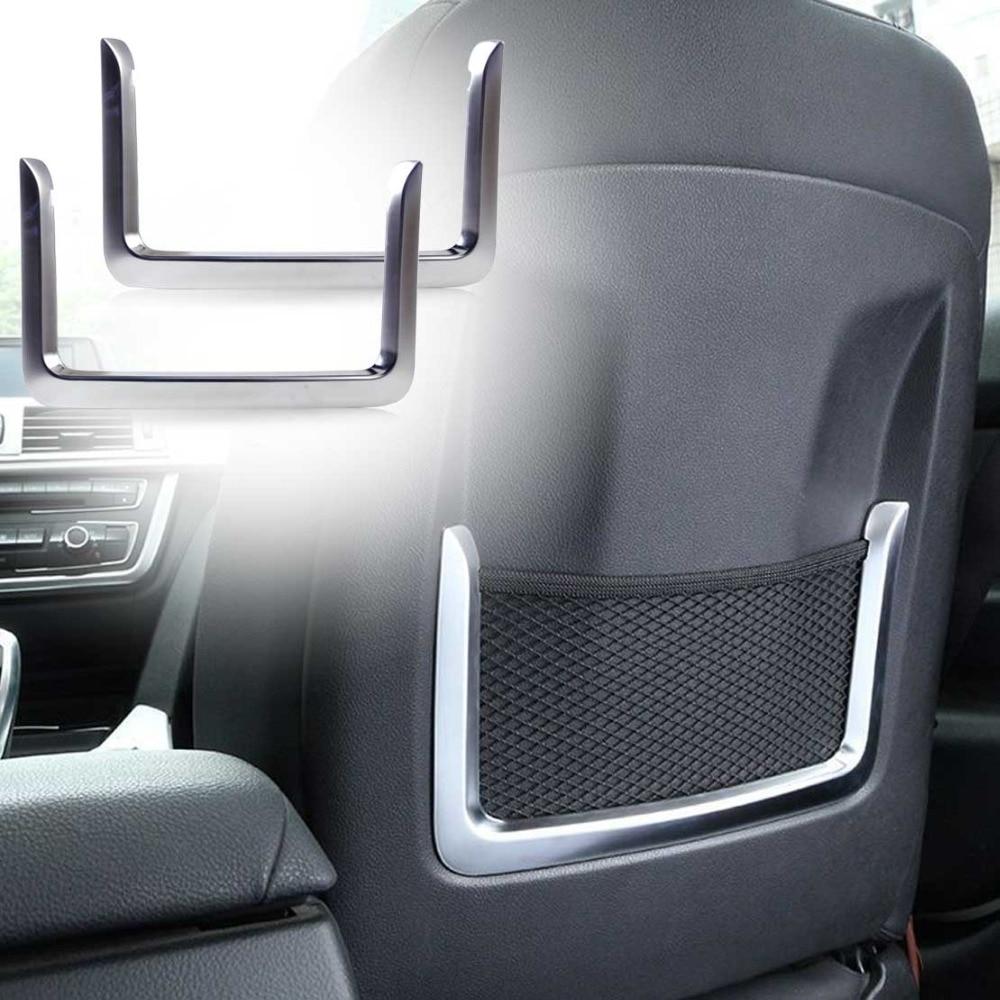 CITALL 2x Car Chrome Plated Silver Seat Back Rear Net