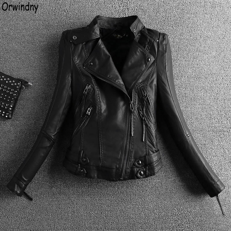 Orwindny 2019 Leather Motorcycle Jacket Black Zippers Leather Clothing Outerwear Biker Leather Coat Outerwear Spring Suede