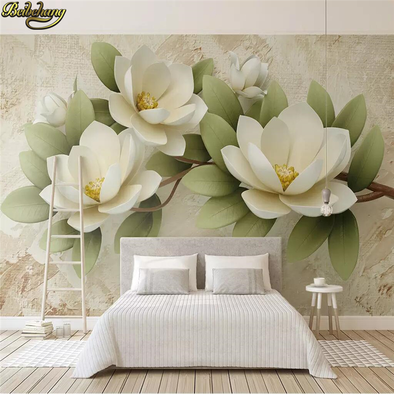 Beibehang Custom Embossed Flowers Photo Wallpaper For Walls 3D Mural Painting Bedroom TV Background Home Decor Mural Wall Paper
