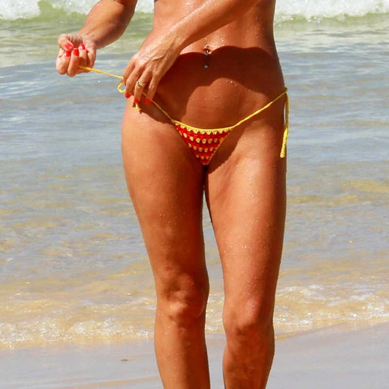 Hand crochet thong string Women's Mini Red And Yellow bikini micro swimwear Sunbathing bikini