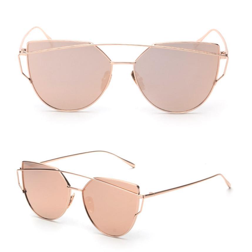 Fashion Twin-Beams Classic Women Metal Frame Mirror Sunglasses Cat Eye Glasses
