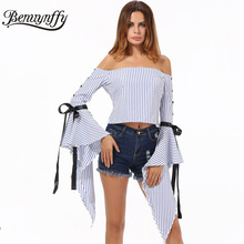 Benuynffy Off Shoulder Striped Blouse Shirt Women Crop Tops 2017 Brand Ladies Elegant Back Zipper Petal Long Sleeve Blouse X598