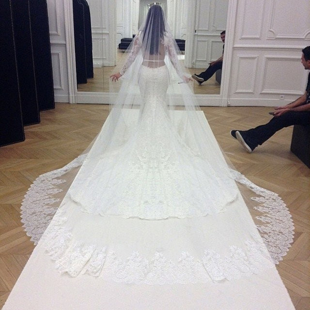 Bridal Veils New Bridal Acessorios Lace Edge One-Layer White 3M Cathedral Length Wedding Veils Long Bride Veil