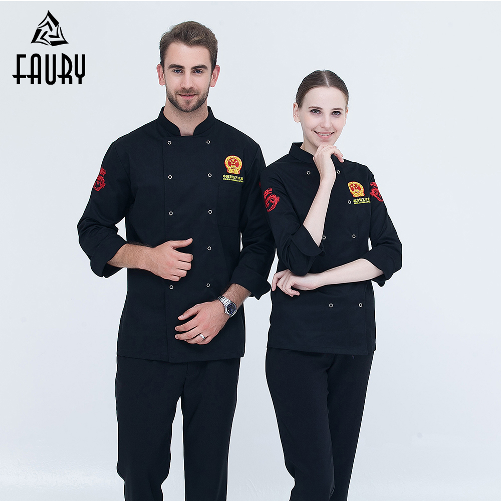 New Arrival Chef Uniform Long-sleeve Chinese Badge Embroidery Double Breasted Food Service Kitchen Bakery Restaurant Chef Jacket