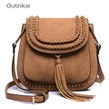 Outnice Designer 2017 Vintage Saddle Bag Small Shoulder Crossbody Bags For Women PU Leather With Tassel Weave Canta High Quality