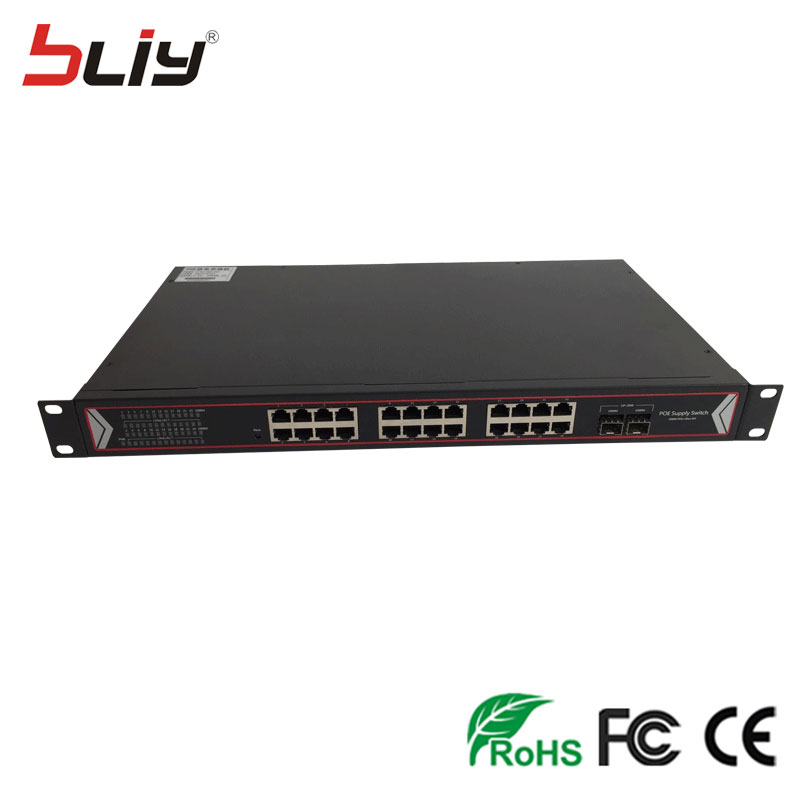 Factory Supply Switch POE 24 POE Port 10/100/1000M SFP Media Converter Optical Fiber POE Switch with 2 SFP ports 16 port poe switch with 2 gigabit tp sfp combo ports 802 3af 15 4w 10 100mbps