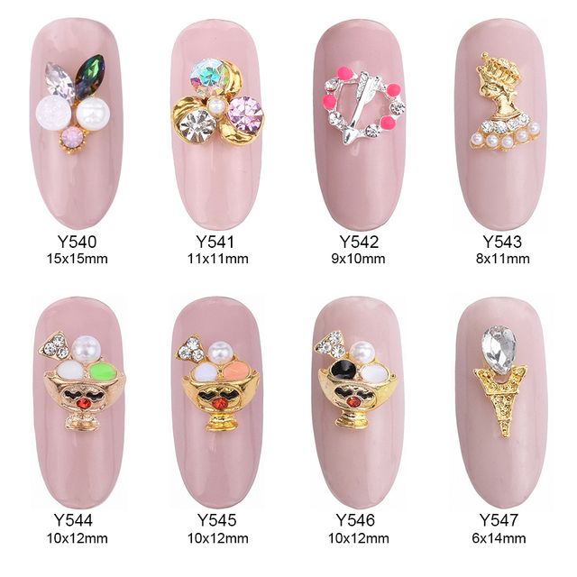 10pcs Cute cup nail stone gems glitter crystal nails decorations new ...