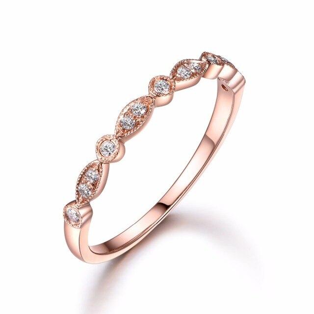 00f7806193e0 MyRay 14 K oro banda de boda eternidad compromiso anillo milgrain boda art  deco empilable anillo