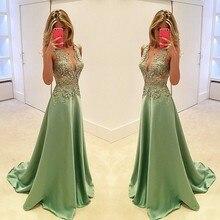 Exquisite Vestidos De Festa Satin Lace Appliques Long Evening Dresses 2016 V Neck Sleeveless A Line Floor Length Evening Dress