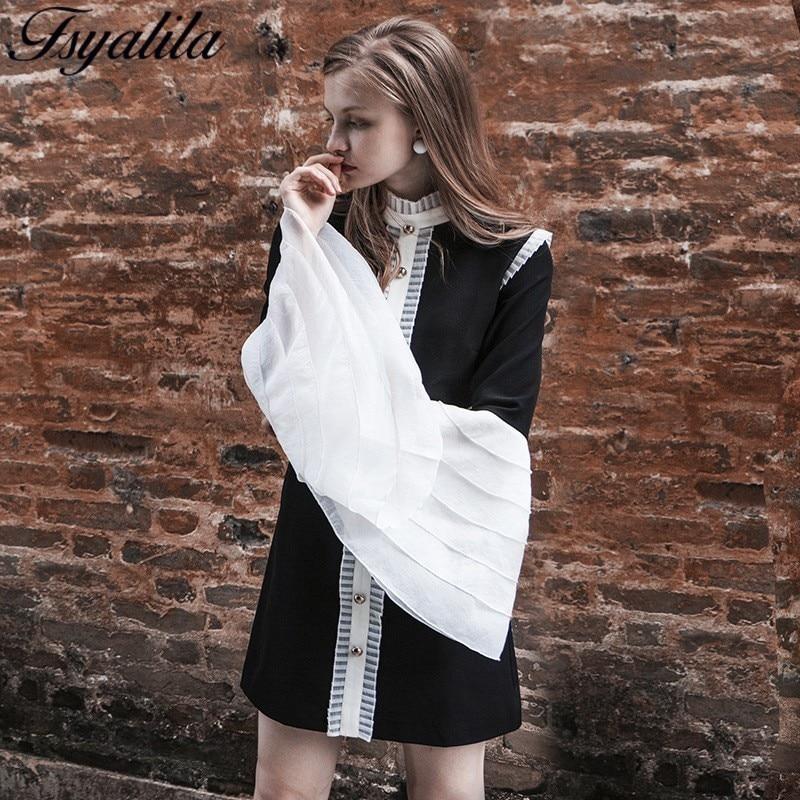 Longues Black Mini Style Manches Robe Partie Piste À Vintage Femmes 2018 Couture Patchwork Haute Élégant Pétale Automne waXxq6Xd