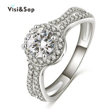 Visisap White Gold color icedout Rings For Women AAA cubic zirconia Vintage Wedding Ring fashion Jewelry Dropshipping VSR161