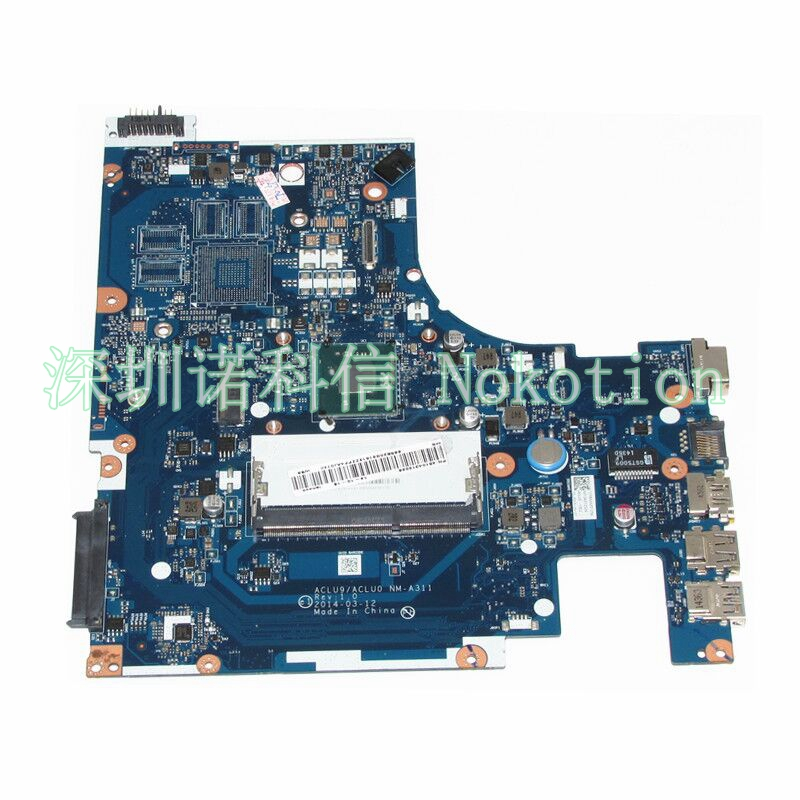 NOKOTION ACLU9 / ACLU0 NM-A311 MAIN BOARD Laptop Motherboard For Lenovo G50 G50-30 DDR3 SR1YJ N2840 Processor full test nokotion aclu9 aclu0 nm a311 laptop motherboard for lenovo ideapad g50 30 sr1w4 n2830 cpu main board works