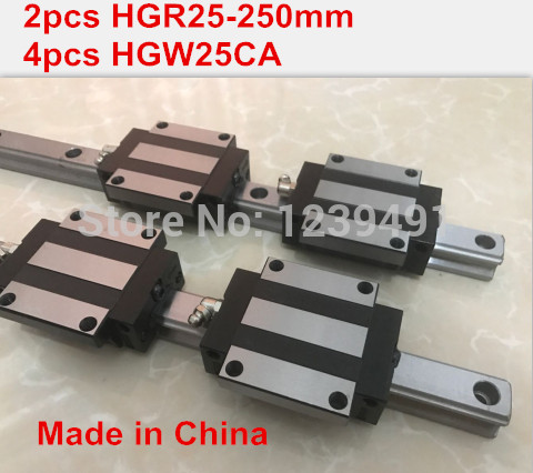 HG linear guide 2pcs HGR25 - 250mm + 4pcs HGW25CA linear block carriage CNC parts free shipping to argentina 2 pcs hgr25 3000mm and hgw25c 4pcs hiwin from taiwan linear guide rail