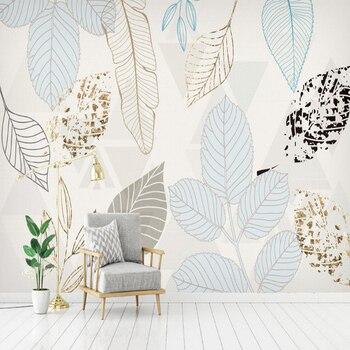 Custom Mural Wallpaper Modern 3D Hand Painted Watercolor Leaf Mural Living Room Bedroom TV Background Wall Paper Wall Painting