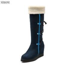 Nemaone размер 34-39 России зимние сапоги густой мех внутри зимние теплые женские сапоги высокие сапоги черный