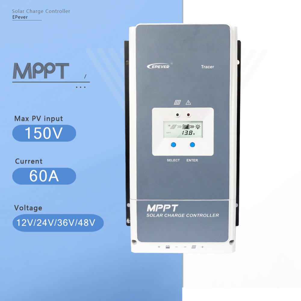 EPever Tracer6415AN 60A Solar Charger Controller MPPT 12V 24V 36V 48V Auto for Max 150V Solar Panel Input Regulator High Quality mppt 100a solar charge controller 12v 24v 36v 48v auto for max 150v input with memory function 2 years warranty solar regulator