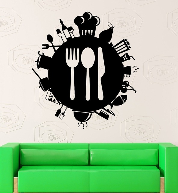 New Arrival Restaurant Vinyl Wall Decal Creative Cooking Housewife Kitchen  Tools Mural Art Wall Sticker Home