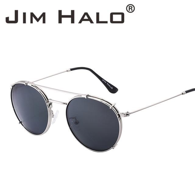 d03bfc036ab7 Jim Halo Wholesale 10pcs Lot Bulk Sale Round Polarized Clip On Sunglasses  Metal Frame Circle Lens Men Women Steampunk Oculos