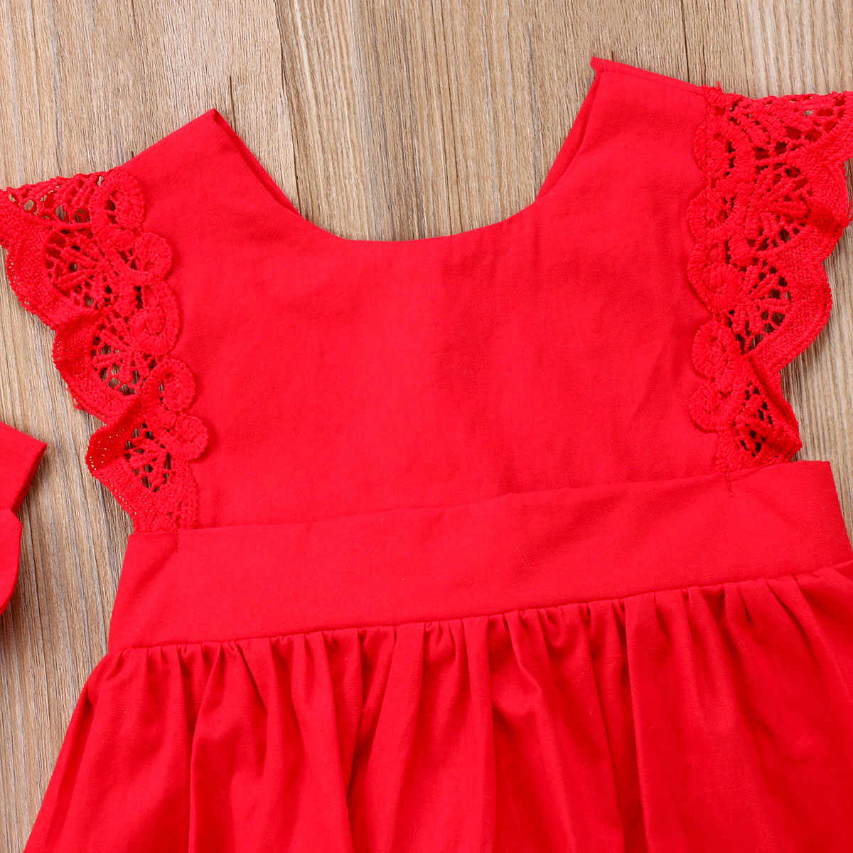 e141e3b5be1e ... Red Christmas Baby Girl Lace Princess Romper Dress Summer Backless  Flower Dress Jumpsuit Clothes Xmas Headband ...