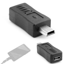 Czarny Micro USB żeńskie do Mini USB męski Adapter ładowarka Converter Adapter(China)