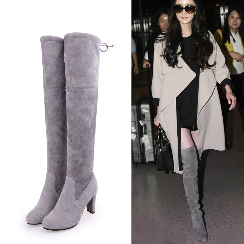Europe United States Polo Boots Party Knee Boots Shoes Woman Dance Boots With Pointed Nubuck Leather Coarse Female Women Shoes short dresses office wear