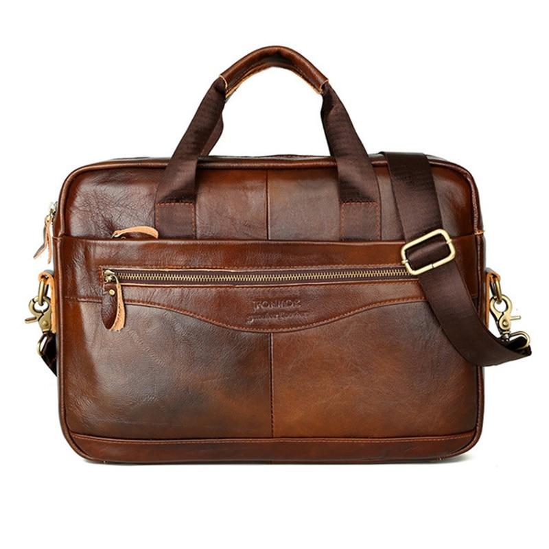 Man Briefcase Genuine Leather Handbag Shoulder Crossbody Messenger Bag Bolsa Business Travel Laptop Note Pad Male Multi-Pocket