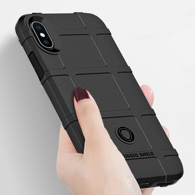 free shipping 0d4b4 22746 US $1.99 20% OFF|For iPhone X 10 Soft Silicone Rugged Shield Case Armor  Hybrid Matte Cover Anti Knock Shell For iPhone 8 7 6s 6 Plus XS Max XR-in  ...