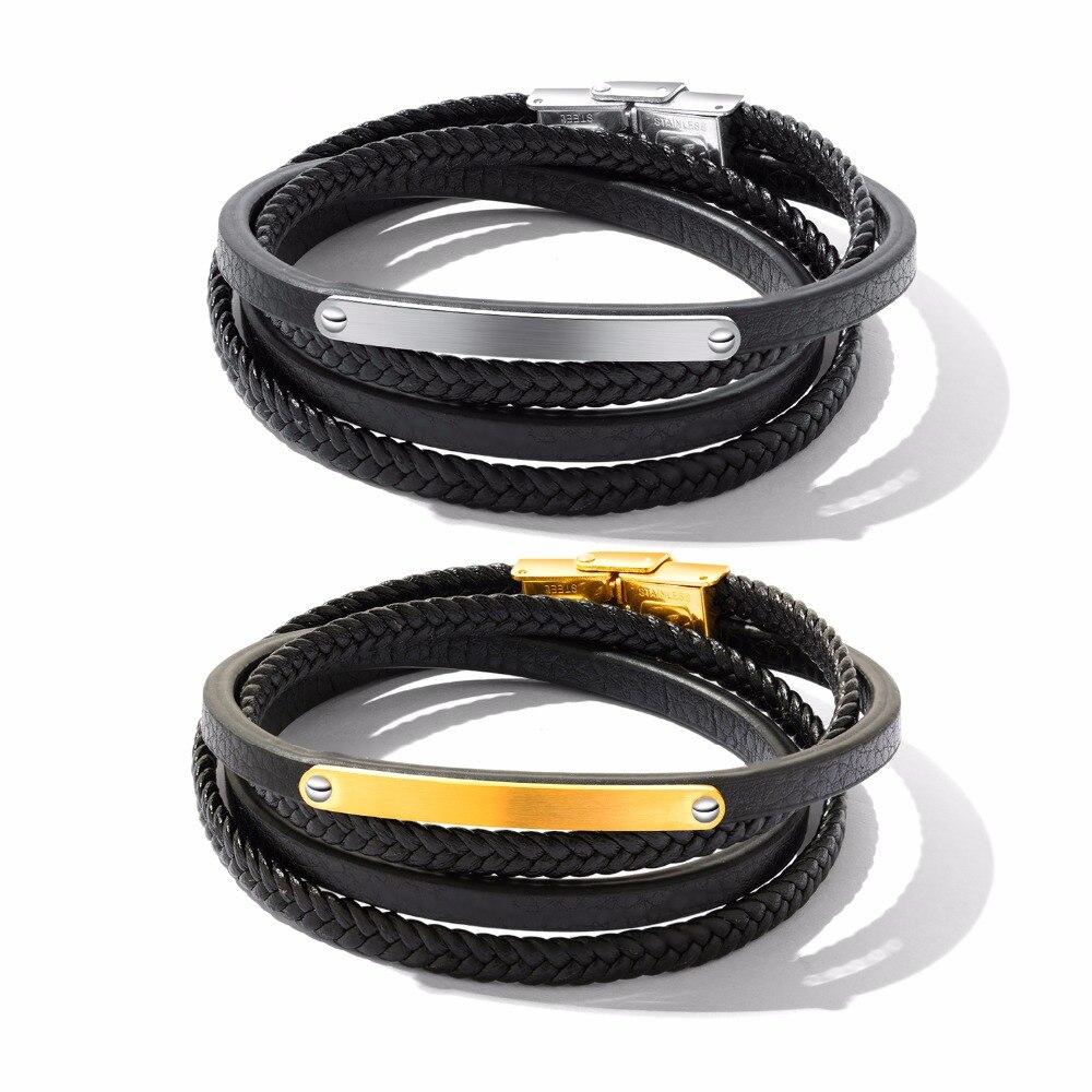 European and American fashion retro multi-layer woven titanium steel leather black men bracelet.ph1265