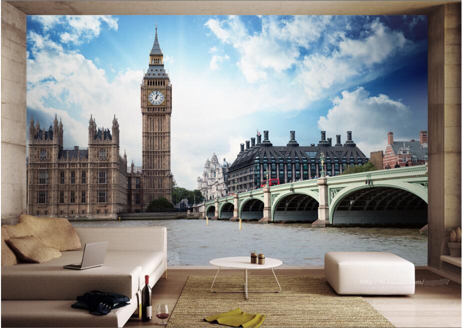 Custom mural 3d photo wallpaper London Thames Big Ben landscape picture painting 3d wall murals wallpaper for walls 3 d пляж на самуи
