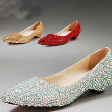 Free Shipping Fashion Pointed Toe Wedding Party Dress Shoes Bridal Shoes Sparkling Silver Bridesmaid Shoes Mother