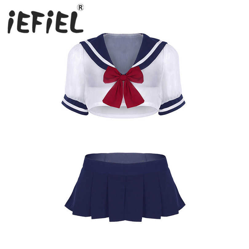 iEFiEL Newest Women Sexy Cosplay Lingerie Costumes Adult Sailor School Student Uniforms Sheer Crop Tops with Pleated Mini Skirt