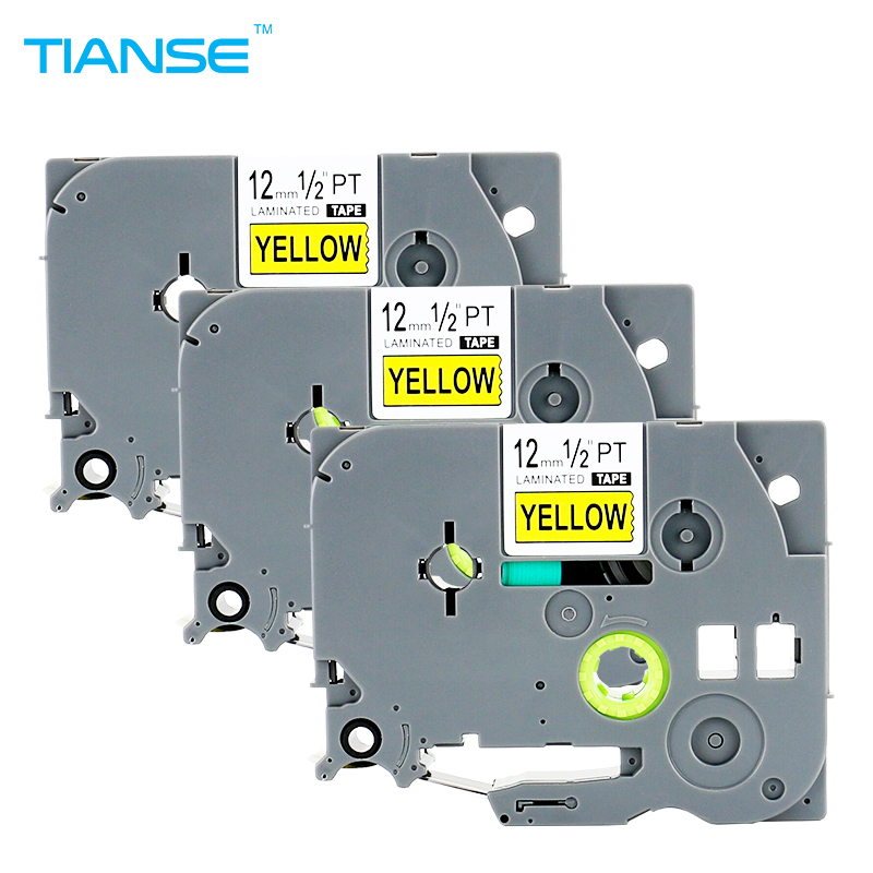 TIANSE 3pcs tze-631 tze631 label tape tz-631 tz631 12mm Black on Yellow tz tze 631 laminated ribbons for Brother P-touch Printer