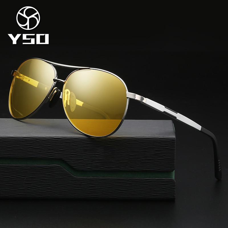 YSO Homens Óculos de Visão Noturna de Alumínio E Magnésio Frame Polarized Óculos de Visão Noturna Para A Condução Do Carro Anti Brilho Vidros 6695