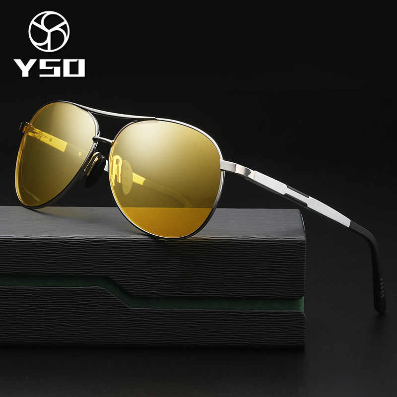 90cedabed84d YSO Night Vision Glasses Men Aluminium Magnesium Frame Polarized Night  Vision Goggles For Car Driving Anti