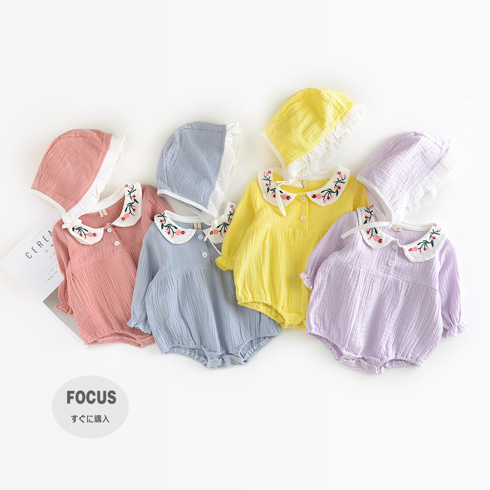 Newborn Baby Girls Clothes Infant Romper Long Sleeve Flower Embroidery Baby Girl Rompers Jumpsuit Pajamas Baby Clothing with Hat baby romper thicken hat 100% cotton 2017 autumn lucky red full sleeve girl boy baby clothing newborn infant jumpsuit rompers