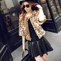Sexy Wild Leopard Parkas S/M/L/XL Womens Fur Coats Collarless O neck 3/4 Sleeve Wide waist Jackets Overcoats Outerwear Clothes