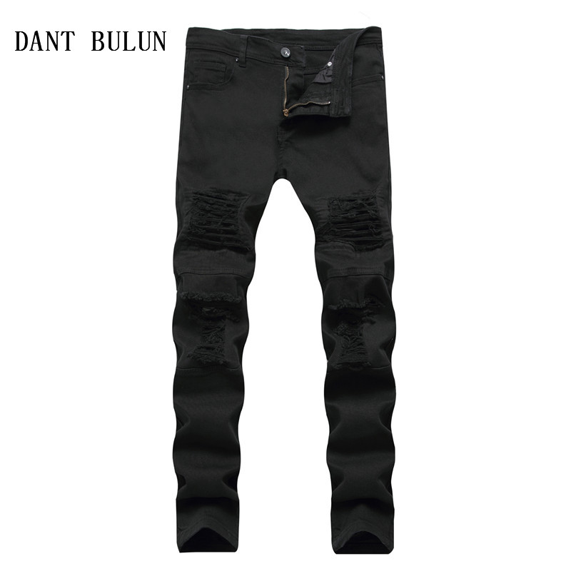 DANT BULUN Men Jeans Ripped Blcak White Skinny Jeans Distressed Holes Frayed Slim Fit Casual Denim Pants,YY003